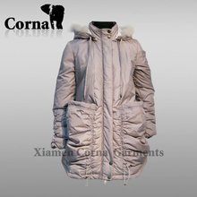 OEM down and cotton padding puffty ladies fancy long coat