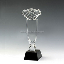 Classical corporate gifts handshake trophy crystal