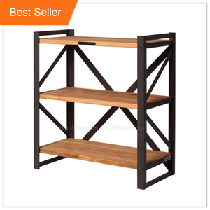 industrial cross back wooden restaurant shelf with iron steel stand