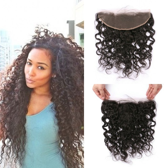 Full Frontal Lace Closure 13x4 Unprocessed Peruvian Virgin Hair Water Wave Lace Frontals 8-24inch