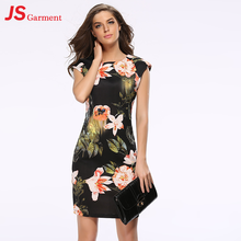 JS 20 Hot sell summer new dress slim big flower cheongsam style hip pencil pen dress 718