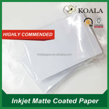 matte photo paper A4 size, single side inkjet matte coated paper