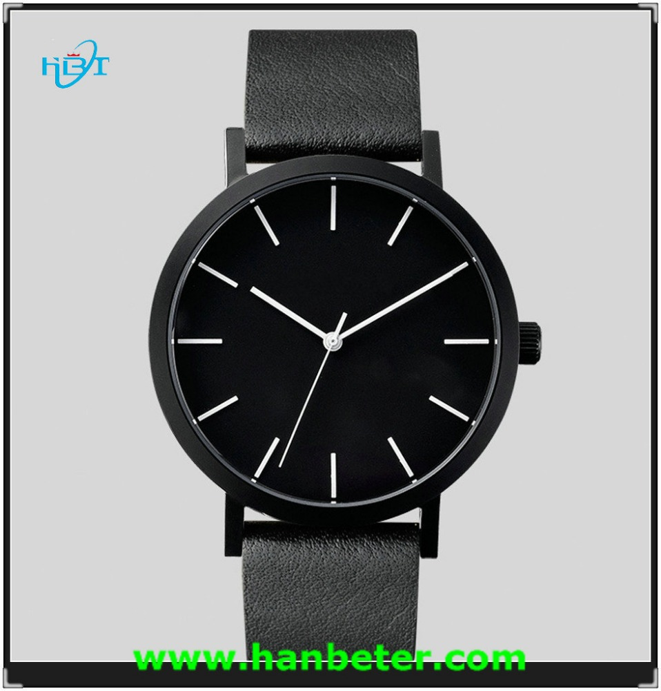 high quality Men fashion watches all black leather strap with custom logo