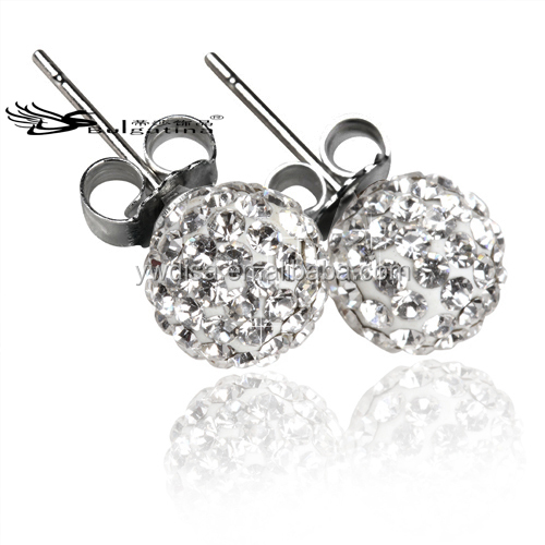 Stainless Steel Stud Earrings With Crystal Ball,Fashion Ball Earrings With Low Cost