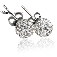 Stainless Steel Stud Earrings With Crystal Ball,Fashion Ball Earrings With Low Cost,2014 Earrings