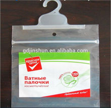 custom made clear plastic PVC tablecloth packaging bag with hanger hook with self adhesive tape