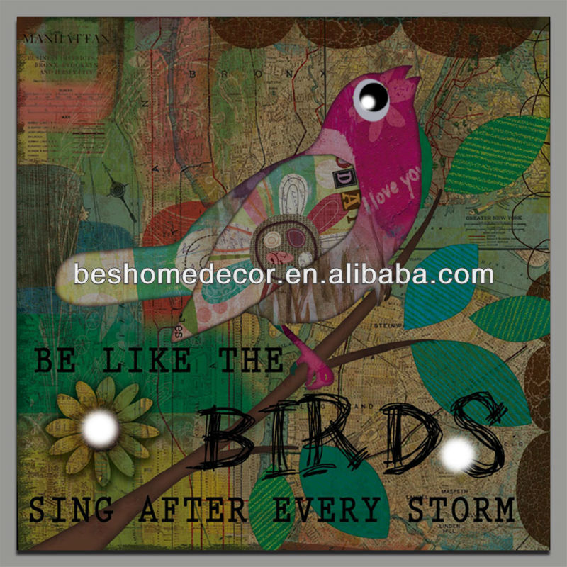 """be like the birds sing after every storm"" led canvas painting wall art"