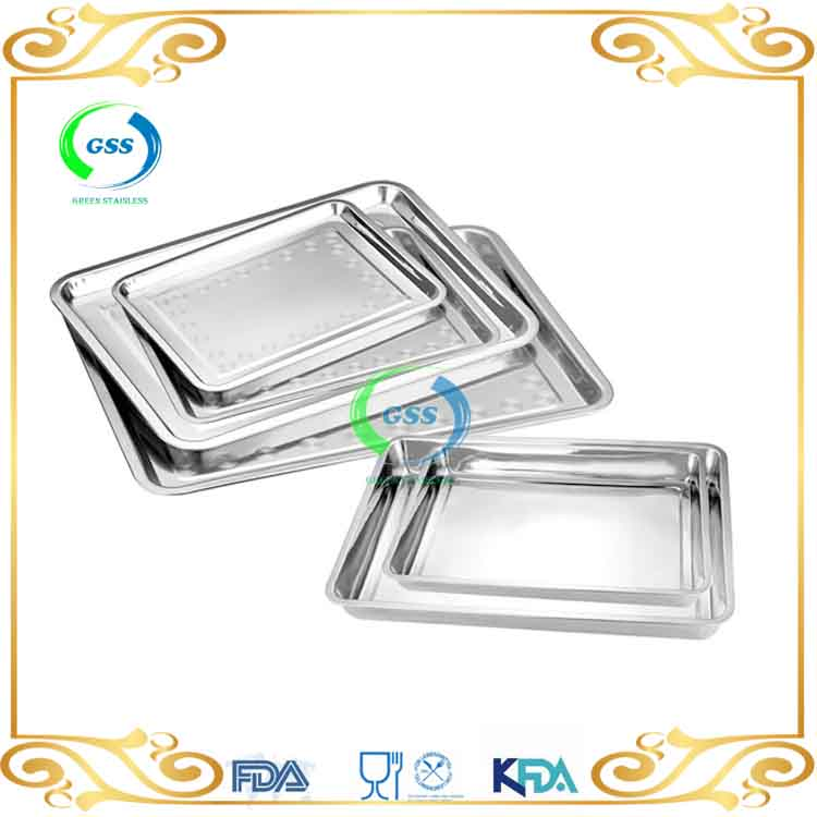 Stainless steel rectangular tray/ serving tray metal serve tray