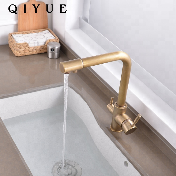 Retro deck mounted antique brass dual handle 3 way kitchen sink faucet taps
