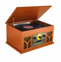 BT Vintage Classic-Style Turntable Record Player with CD & Cassette Players, FM Radio