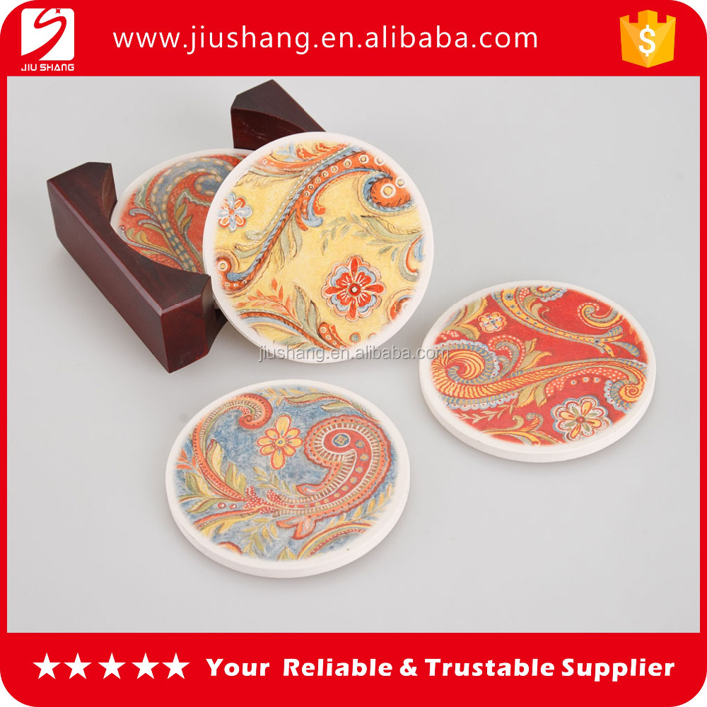 High quality round ceramic cork coaster with adhesive with custom printing