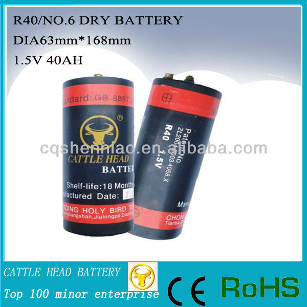 R40/No.6 dry cell tubular battery