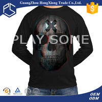 Men 3d design pictures of old skull long sleeve plus size elongated t-shirts