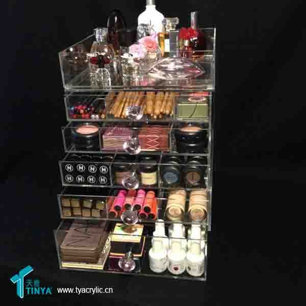 5 Drawers Crystal Handle Clear Lucite Acrylic Storage Box with Dividers