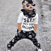 Wholesale printing black white baby suit cotton punk baby clothes