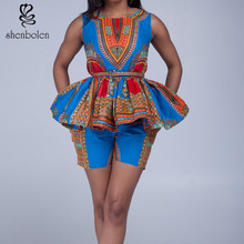 K016 african two pieces dashiki print top with mini shorts for girls