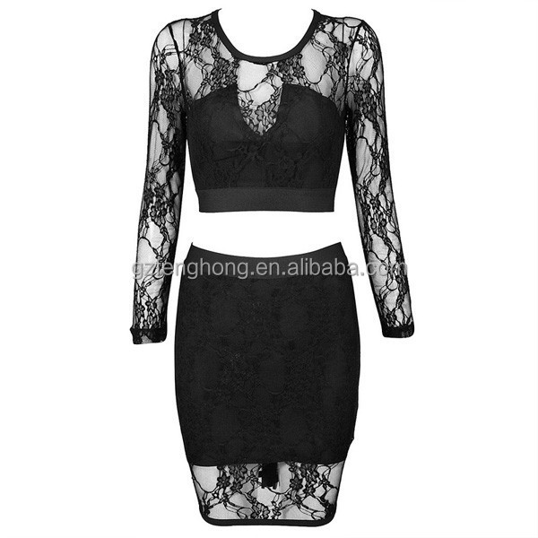Wholesale black long sleeve sexy two piece evening dress, sexy spandex club dress