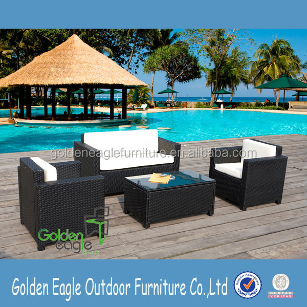 uv resistant plastic material rattan patio furniture in garden sofa