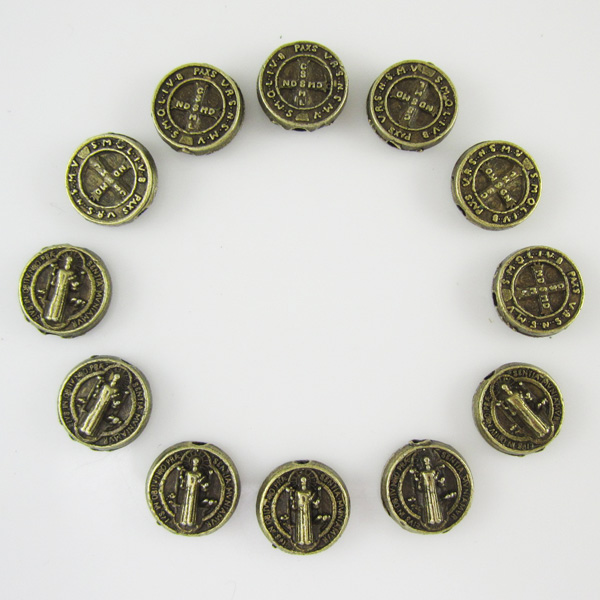 wholesale rosary beads antique bronze round saint benedict crucifix medal