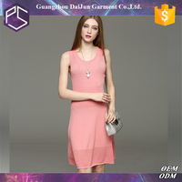 Daijun oem hot sale pink crocheted sleeveless all types of ladies dresses