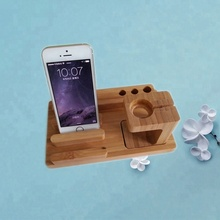 Universal <strong>Bamboo</strong> Wood Multi-Charge Dock Stand for Watch / Tablet/ Smartphones/ <strong>Pen</strong> <strong>Holder</strong> &amp; Docking Station