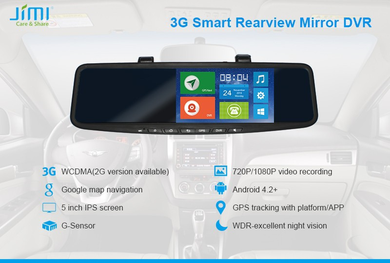 JiMi 2014 Newest 3G Smart Rearview Mirror DVR car multi view camera