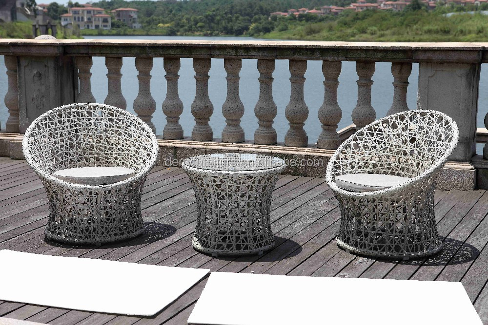 Handmade Wicker Furniture Rattan Outdoor Garden Leisure 2 Chairs And Tea Table