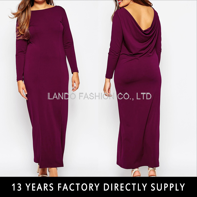 Elegant long sleeve open back maxi mother of the bride dresses for fat