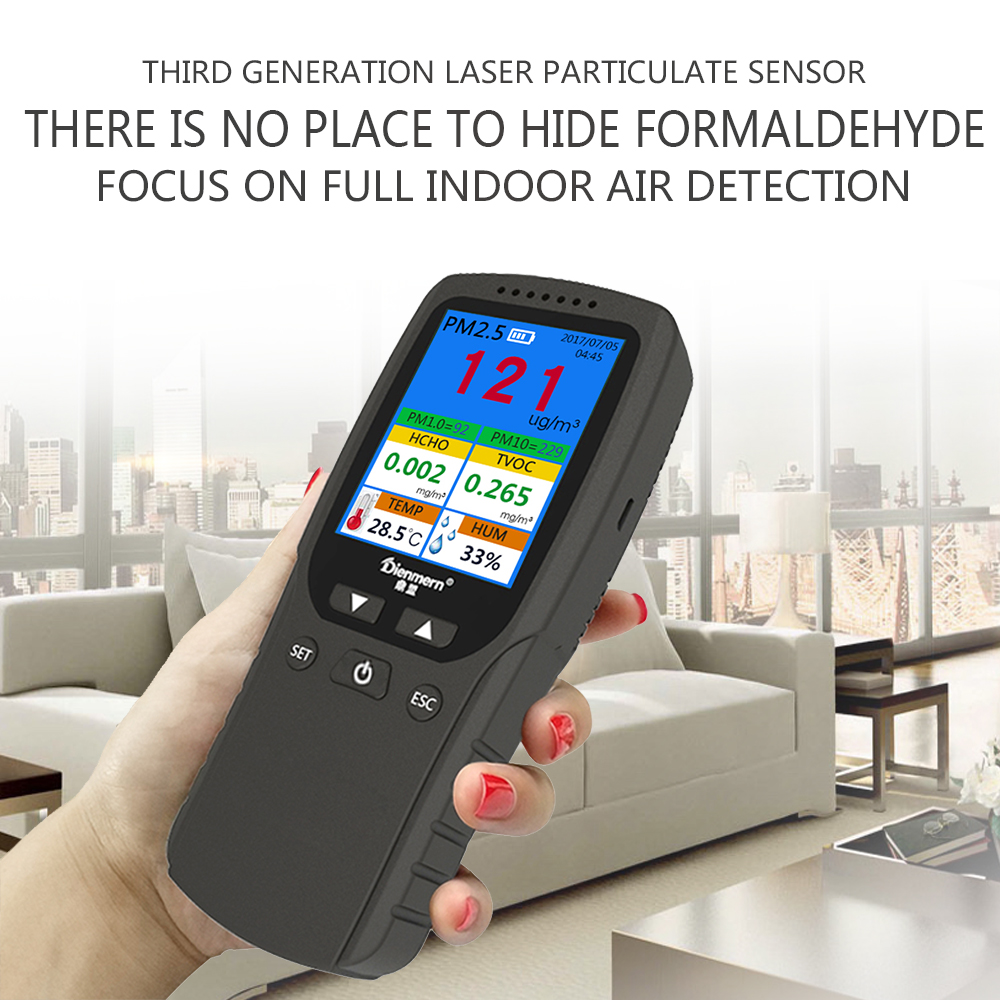 pm2.5 detector portable air quality monitor detector TVOC+HCHO+Temperature+Humidity analyzer sensor meter for home car test