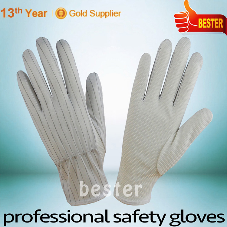 China manufacture Nice looking dust free esd text white pvc dotted gloves