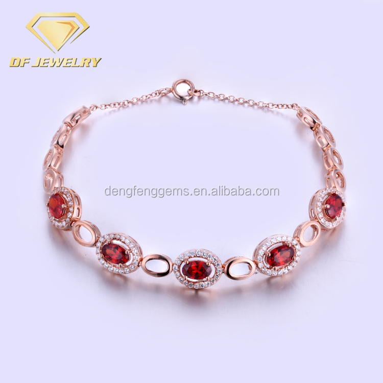 Turkish Sterling Silver Ruby Gemstone Tennis Bracelet