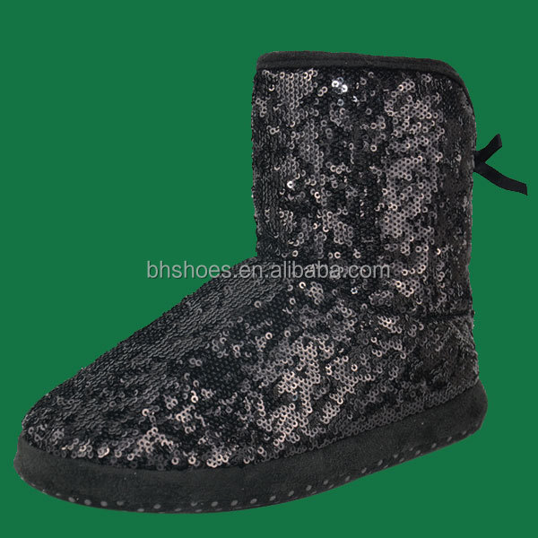 BHS096574 fashion soft warm black shiny sequins lady boots indoor