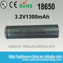 Cylinder 18650 1300mAH lifepo4 cell for miner's lamp