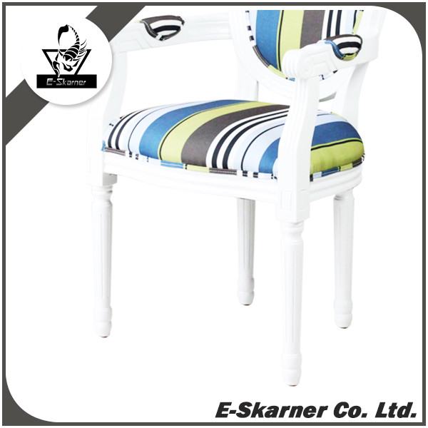 E-Skarner white wood frame dining chair with arm rest