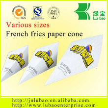 Printable paper cone for fish fingers and chips and fries