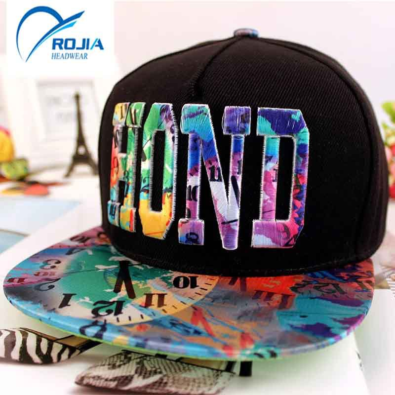 3D embroidery flat bill printing cap