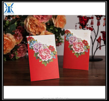 Yiwu 2015 New Arrived decorative make red flower design custom made invitation card for wedding