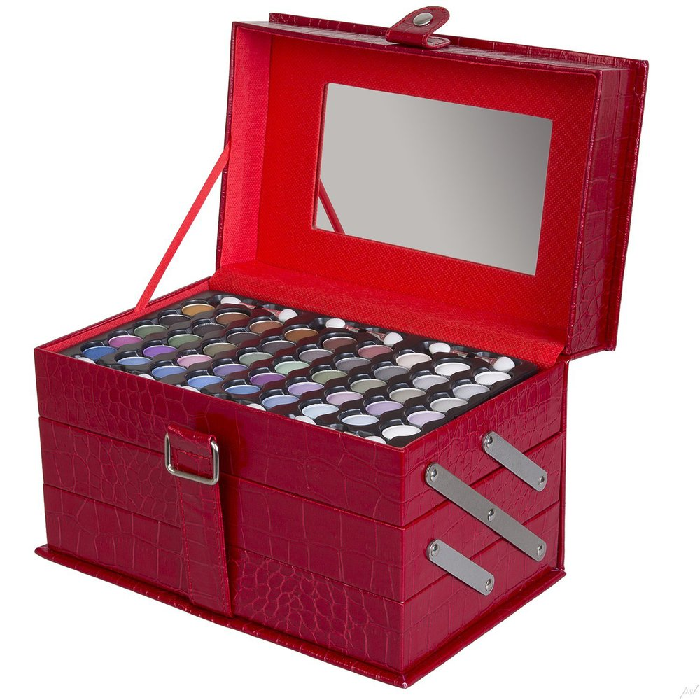 All-In-One Makeup Kit in Highly Fashionable Red Leather-look Cosmetic boxTrain Case