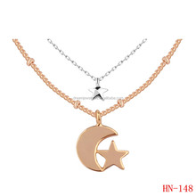 moon and star charm couple jewelry souvenir gift bead chain layer necklace Reseller