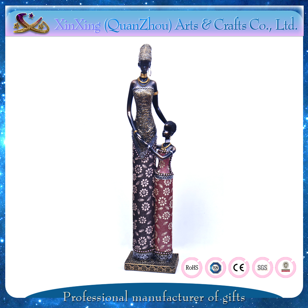 African woman and child home lobby hotel decoration polyresin figure
