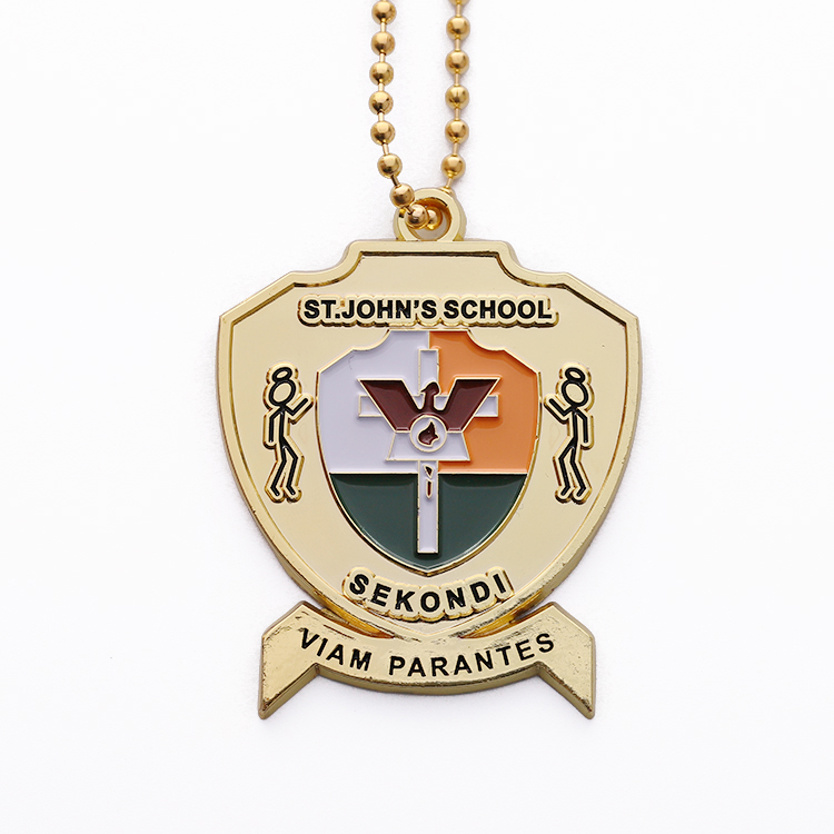 Cheap custom enamel school award  metal medallion with Bead chain