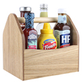 Wood factory handmade FSC custom large wooden condiment holder