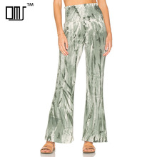 Green tie dye flare pants boho ladies bell bottom trousers cutting
