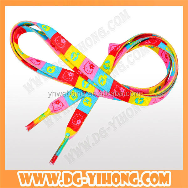 hot selling eco friendly heat transfer printed polyester shoelaces