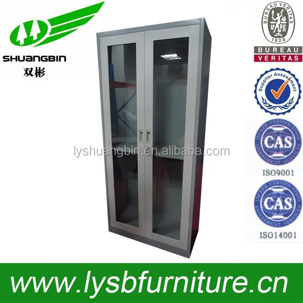 Adjustable designed low price of sliding door wardrobe/ ISQ certified 2 glass doors metal cupboard in chemistry