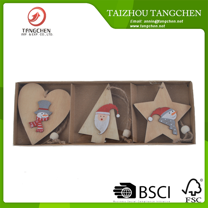 7.8cm Set Of 3 Wooden Hanging Star Heart and Tree Nordic Christmas Tree Xmas Decorations,Christmas Crafts,Christmas Ornaments