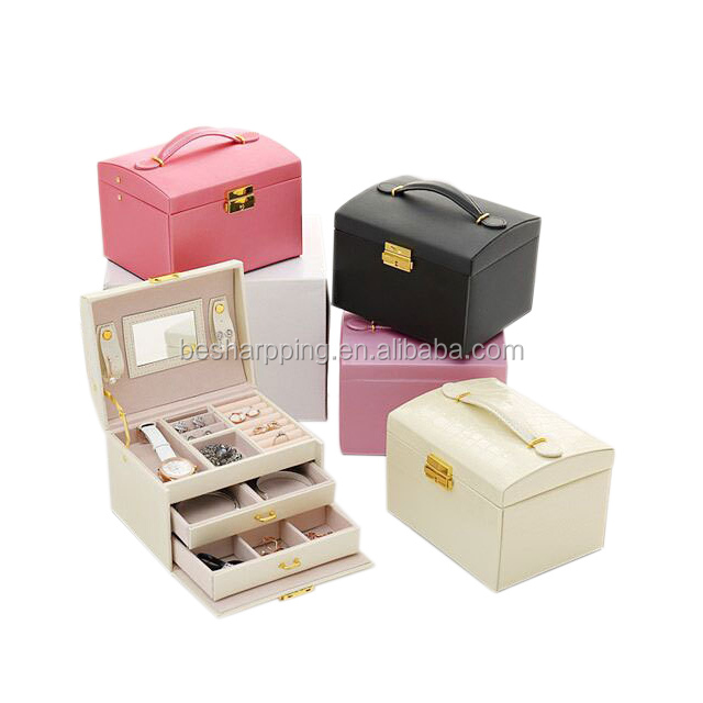 Wholesale All Purpose Portable Handle Locking Drawer Jewelry Organizer Mirrored Make up Jewelries Box