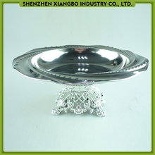 26cm round embossed stainless steel fruit serving dish metal plate