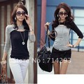 Women's Fashion Long Sleeve Crew Neck Hollow Out T-Shirt Tee Blouse 8054