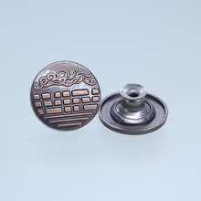 New chinese custom jeans fabric metal dome shank button